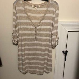 cream and white striped shirt